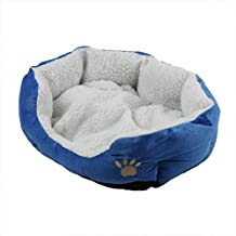 EverTrust(TM)Soft Pet Dog Nest Puppy Cat Bed Fleece Warm House Kennel Plush Mat 4 Colors,Blue