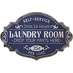 Creative Co-op DA5716 Vintage Metal Laundry Room Wall Sign in Distressed Finish