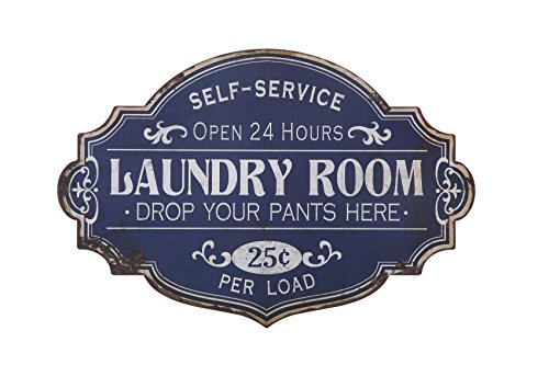 - Creative Co-op Vintage Metal Laundry Room Wall Sign, Distressed Blue