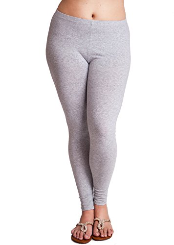Heather Gray Ladies Plus Size Solid Color Cotton Leggings