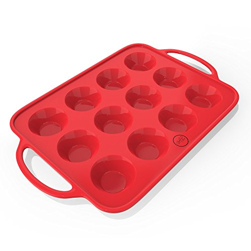 Sturdy Handle & Non Stick Silicone Muffin & Cupcake Baking Pan - Easy To Carry Patented Silicone Molds - Bake Boss 12 Cups BPA Free Bakeware Tins - Dishwasher Safe ()