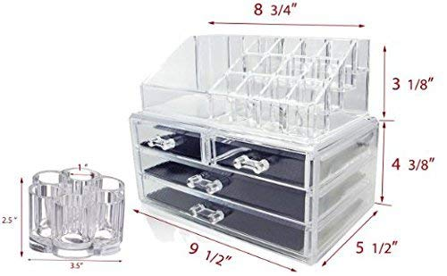 Set of 2 Clear Acrylic Cosmetics , Jewelry and Makeup Organizer Brush Holder with 12 Spaces idea for Christmas, birthday gift