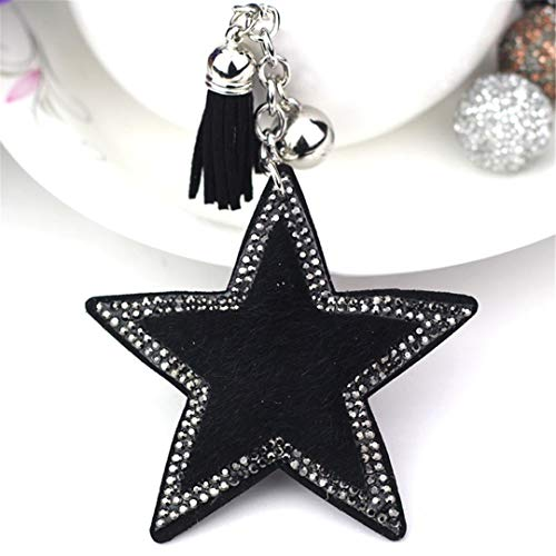 JBANPOWLU Cute Statement Cat Heart Star Tassels Horse Hair Bag Bugs Car Ornaments Leather Tassels Bag Charm Crystal Key Chain Orange