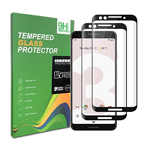 Google Pixel 3 Screen Protector, [2pack] Tempered Glass, 9H Hardness, Full Coverage, Bubble Free, Compatible with Google Pixel3