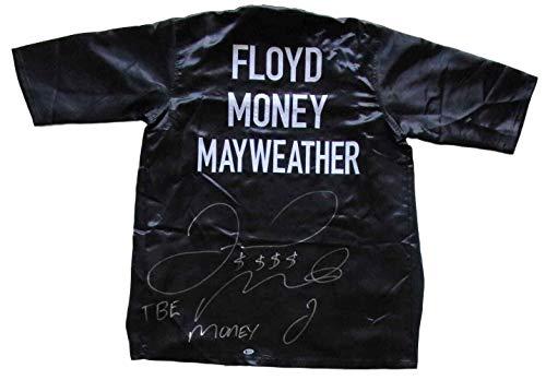 (Floyd Mayweather Jr Signed Custom Black Money Boxing Robe TBE Money Beckett BAS - Beckett Authentication)