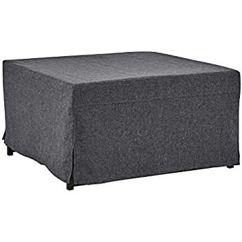 handy living space saving folding ottoman sleeper guest bed charcoal black twin. Black Bedroom Furniture Sets. Home Design Ideas