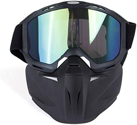 RouYuan Gesichtsmaske, Motorradbrille Helm Sonnenbrille Abnehmbare Maske Mundfilter Verstellbarer Riemen Retro Straßenreit UV Motorradbrille (Farbe : Grün)