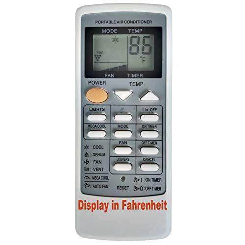 Replacement for Sharp Portable Air Conditioner Remote Control CRMC-A663JBEZ CV-P09FL CV-P09FX CV-P09LX CV-P10MX CV-P12LX XV-4181 CVP12PX CVPD13PX CV2P10SC CV2P10SC CV2P10SX (Display in Fahrenheit)