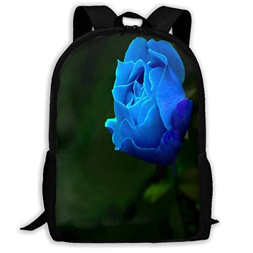 Backpack Lovely-Blue-Rose Zipper School Bookbag Daypack Travel Rucksack Gym Bag For Man Women