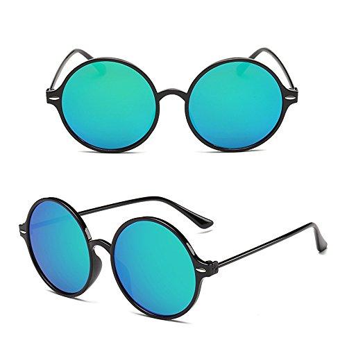 lunettes réfléchissantes rondes lunettes steampunk de cadre Mesdames Noir et style rétro Bleu Lunettes Dintang de Lentille femmes soleil soleil Cadre WnZBt464