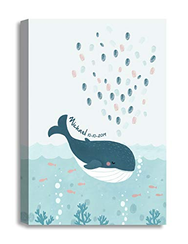 DECORARTS - Baby Whale with Thumbprint Water - Creative DIY Fingerprints Guest Book Canvas Artwork, Includes Personalized Names and Dates - Perfect for Baby Showers and Birthday - Thumbprint Water