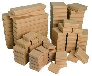50 Box Assortment of Kraft Color Cotton Filled Jewelry Boxes by Belandaria Designs
