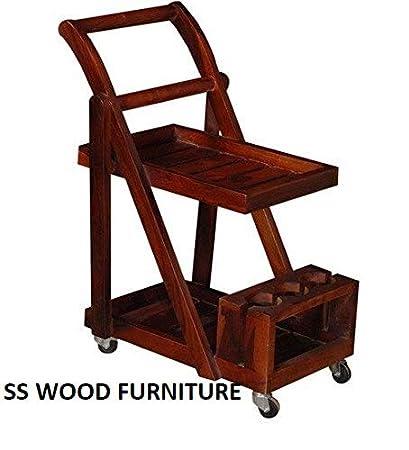 SS WOOD Furniture Altavista Trolley Bar Cabinet (Honey Oak Finish)