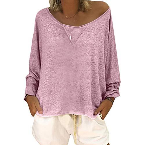 Top A Manica Lunga da Donna Autunno Blusa Sfilata Jersey Shirt Baggy Blouse S-4XL Viola