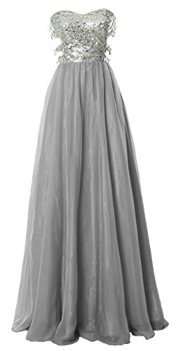 MACloth Fitted Sweetheart Long Cutout Sequin Prom Evening Dress Formal Ball Gown Gris