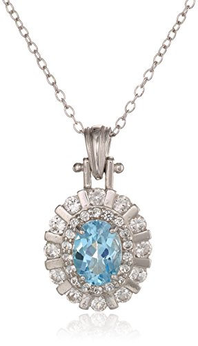 Sterling Silver, Created White Sapphire, and Gemstone Pendant Necklace, 18