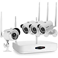 ANNKE 4-channel 720P Wireless Security Camera System and (4) 720P Bullet Night Vision IP Cameras with Motion Detection Alarm No Hard Drive