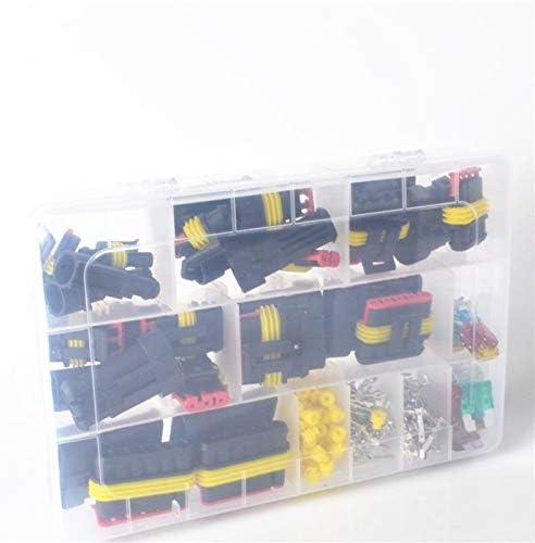 ACAMPTAR 216 Piezas//Juego 1-6 Pin Conector de Cable El/éCtrico una Prueba de Agua de la Motocicleta del Coche Kit de Terminales Automotrices Fusibles de Cuchilla de Enchufe Macho Hembra