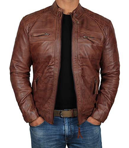 Leather Motorcycle Biker Jacket - Brown Leather Jacket Men for Bikers - Distressed Lambskin Waxed Motorcycle Leather Jacket | M