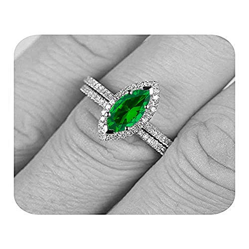 Dabangjewels Marquise Cut Created Emerald & Diamond Plated Wedding Band Bridal Ring for Women's