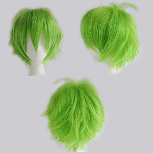 Anime-Cosplay-Synthetic-Full-Wig-with-Bangs-20-Styles-Short-Layered-Fluffy-Hair-Oblique-Fringe-Full-Head-Unisex-for-Man-and-Women-Girls-Lady-Fashion-Green