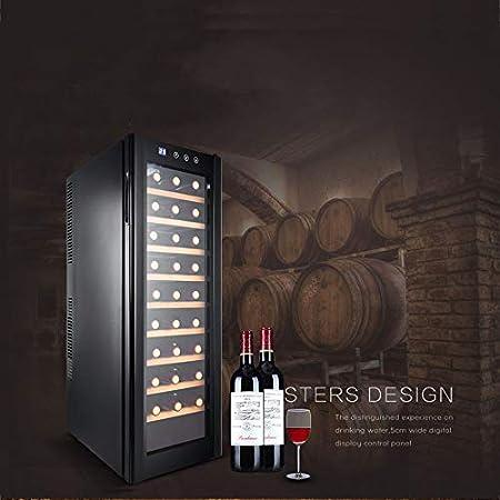 HYYQG Led Enfriador De Vino, Bebidas Nevera 30 Capacidad De La Botella Pantalla TáCtil Digital Inteligente Cristal Negro Pantalla Horizontal Ahorro De BateríA Bajo, Black