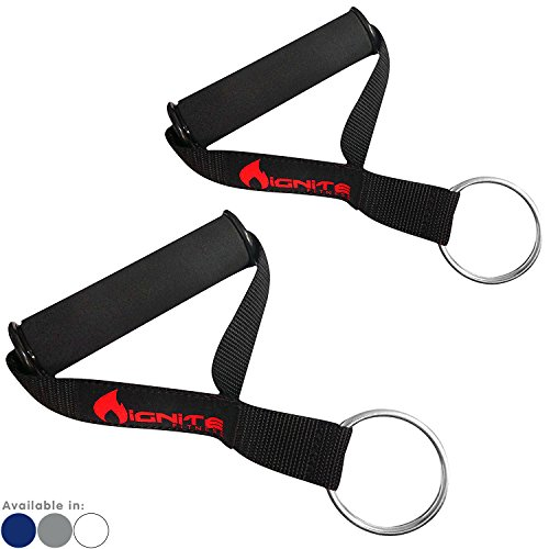 Ignite Fitness Ultra Heavy Duty Elite Exercise Handles (Pair) with Solid ABS Cores, Comfortable Extra Wide Foam Grips, Seamless O Rings - Perfect Resistance Band Handles for Crossfit and Bodybuilding ()