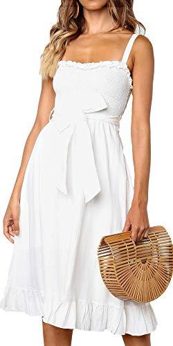 LOMON Floral Dresses for Women Sleeveless Tie Waist Ruffle Dress (White,S)
