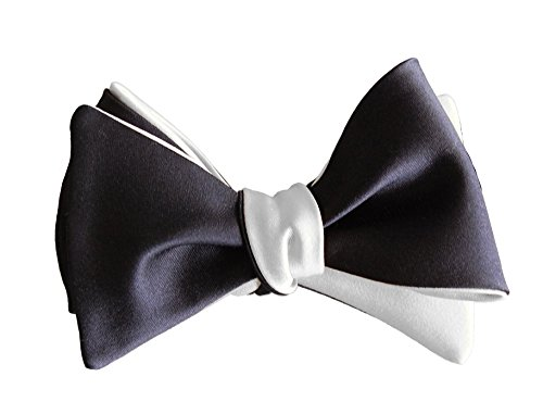 Knot Theory Black and White Butterfly Bow Tie - Tailor Handmade - Impeccable Quality - 6-ways to Wear - Self-tie (Centerpiece Bond James)