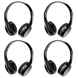 Infrared Wireless Headphones IR Headset for Car DVD Player 2 Channel Kids Size Black (4 Pack)