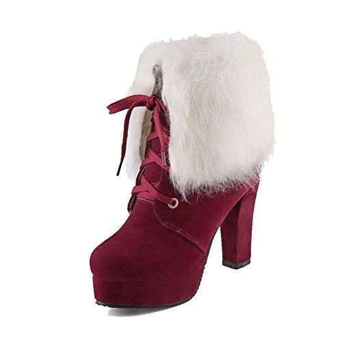 AllhqFashion Damen Rund Zehe Niedrig-Spitze Hoher Absatz Gemischte Farbe Stiefel mit Knoten, Weiß, 35