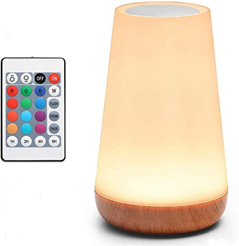 Table Lamp ,Touch Lamp,5 Level Dimmable Warm White Light & 13 Color Changing RGB,Nightstand Light for Bedroom,Baby Kids Room, Living Room, Office