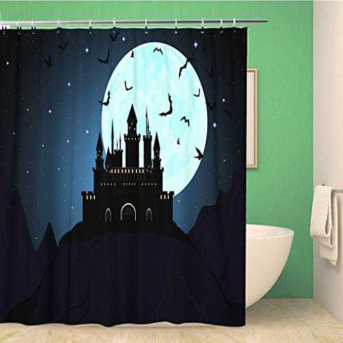 Awowee Bathroom Shower Curtain Ancient Halloween Dracula Castle Architecture Bat Building Dark Darkness 72x72 inches Waterproof Bath Curtain Set with Hooks]()