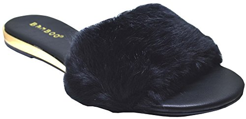 Bamboo Interest-14m Mujeres Furry Slides Black Fur Size 10 Black Fur