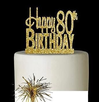 AgemileStone Super Gold Glitter Reusable Happy Birthday Party Elegant Cake Decoration Topper With Mylar Spray