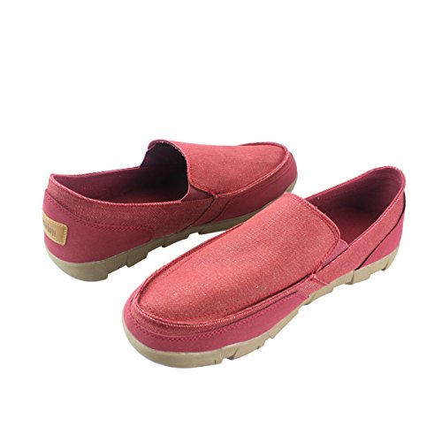 Slip on fisca Flats Men's Shoes Loafer Red Casual Canvas CrYxFqwXY