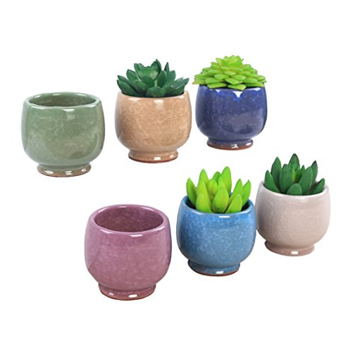 MissGarden 2.3 inch Mini Ice Crack Ceramic Succulent Planter Pot Unique Colored Flowing Glaze Cactus Plant Nursery Pots Container with Drainage for Garden, Deck Railing and Window Sill (2.3 inch) -