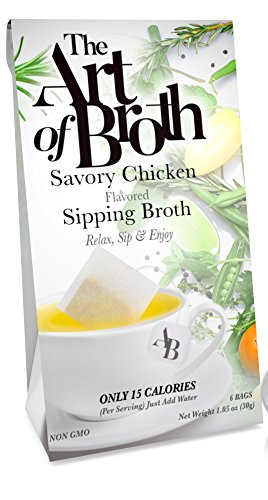 Flavored Broth - The Art of Broth Chicken Broth, Savory Chicken Flavored Sipping Broth Bag, Non-GMO, Vegan, Gluten-Free, Kosher (Pack of 6)