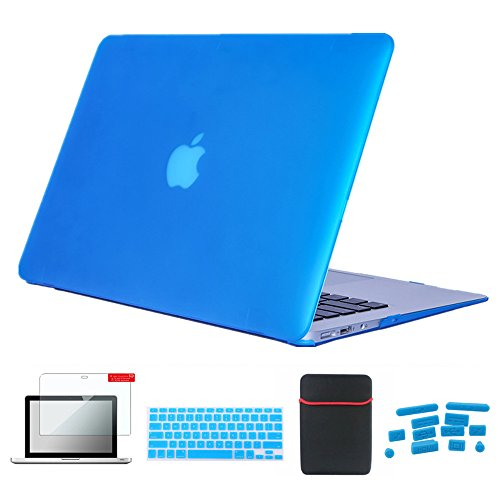Se7enline MacBook Air Case [5 in 1 Bundle] Hard Shell Cover for MacBook Air 13 inch A1369, A1466 with Soft Sleeve Bag, Silicone Keyboard Protector, Clear LCD Screen Protector, Dust Plug, Aqua Blue