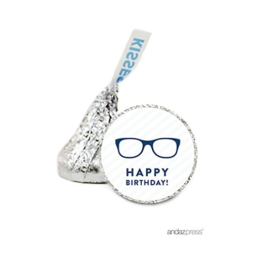 Andaz Press Chocolate Drop Labels Stickers, Birthday, Eyeglasses, 216-Pack, For Nerdy Geeky Geek Funny Metrosexual Over the Hill Hershey's Kisses Party Favors, Gifts, Decorations