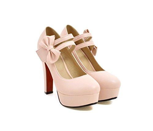 Gran Alto 40 Bowknot Purple Zapatos Una Gruesos 31 Pink Pequeño 32 Tacón Palabra Código Señoras Impermeable Boca Hebilla De Tamaño 47 Tacones Highxe Baja Plataforma qwtTAxS