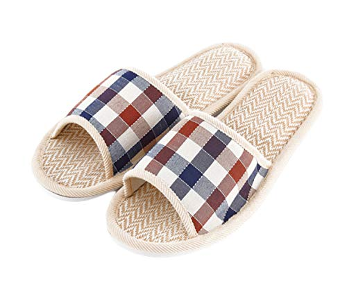 - Women's Men's House Flax Bamboo Straw Slides Open-Toe Slippers Flip Flop Slip on Bath Spa Summer Sandal Lightweight Shoes Breathable Four-Season Indoor (04/Coffee, 9-10 M US Men)