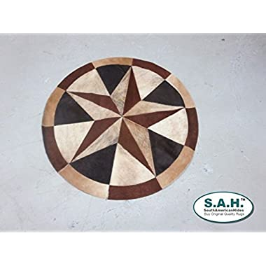 Rug Leather Star Cow Hide Patchwork Area Round Carpet 40''