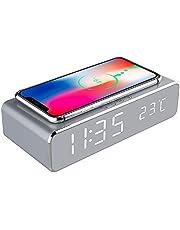 YOOXI Despertador com carregamento sem fio, 2 em 1 HD espelhado, despertador digital com carregador sem fio e termômetro adequado para quarto, cabeceira