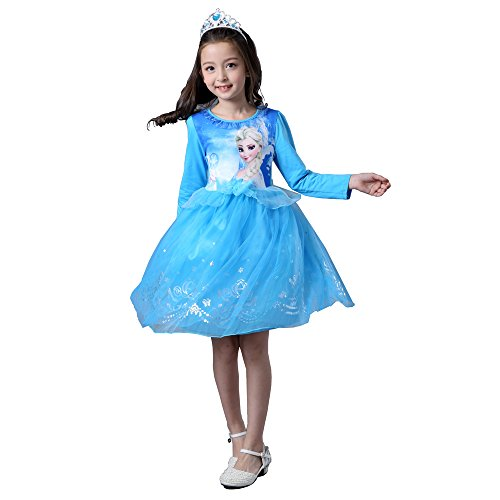 Snow Queen Anna and Elsa Princess Girls' Long Sleeve Lace Tulle Flower Party Dress Costume no cape Mesh Skirt smock (110, (Elsa And Anna Tutu Costume)