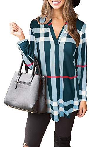 Womens Casual Long Sleeve Plaid Tunic T Shirt V Neck Pullover Blouses Tops Blue Small -
