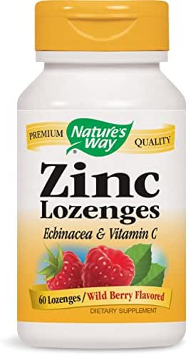 Nature's Way Zinc Lozenge with Echinacea & Vitamin C, Wild Berry Flavor, 60 vegan Lozenges, Packaging may vary