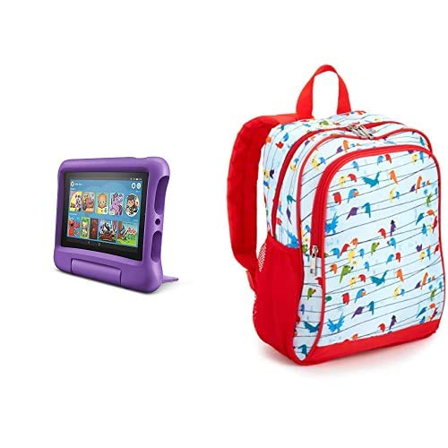 Fire 7 Kids Tablet 32GB Purple with Made for Amazon Kids Tablet Backpack, Birds