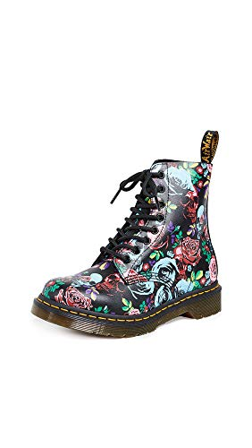 Dr. Martens Women's 1460 Pascal 8 Eye Boots, Rose Fantasy, Black, Floral, 8 M US