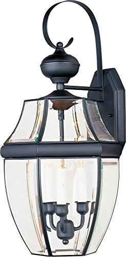 Maxim 4192CLBK South Park 3-Light Outdoor Wall Lantern, Black Finish, Clear Glass, CA Incandescent Incandescent Bulb , 60W Max., Damp Safety Rating, Standard Dimmable, Fabric Shade Material, 2688 Rated Lumens